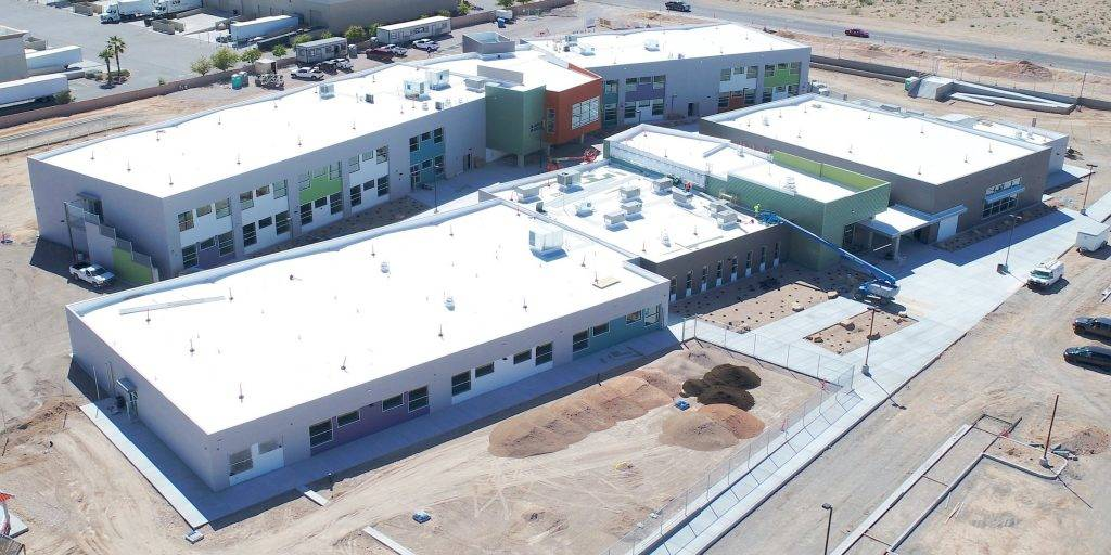 An aerial construction photo shows Dr. Beverly S. Mathis Elementary School in the southwest valley. The $28 million school will have 53 classrooms and accommodate 850 students when it opens this f ...