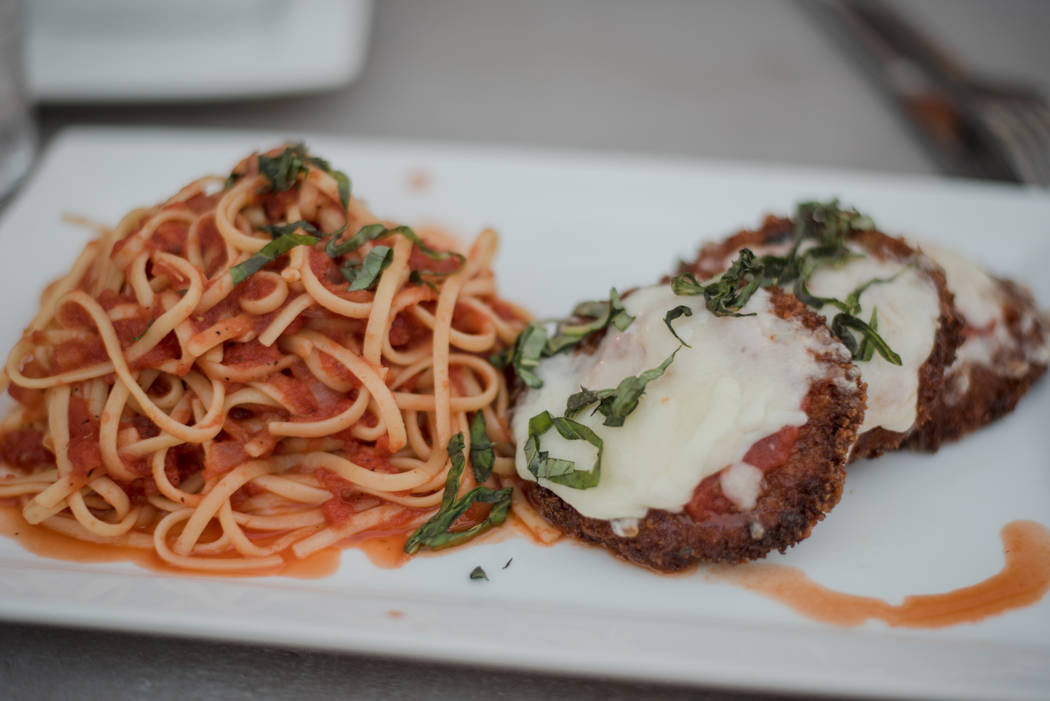 The eggplant parmesan is topped with mozzarella and tomato sauce and is served with linguini for $12. (Morgan Lieberman/Las Vegas Review-Journal)