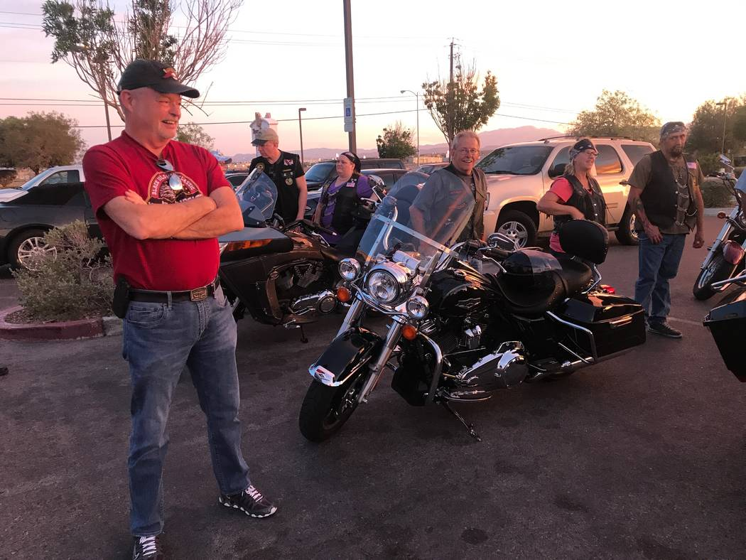 Original founder and former president of Vegas Vulcan Riders, Sam Brown, chats with members after a monthly meeting  in the parking lot of Town Center Lounge II, 2992 W. Cheyenne Ave. (Kailyn Brow ...