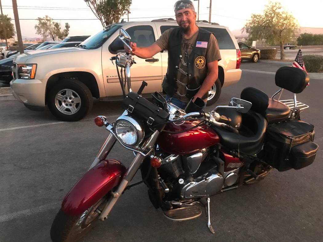 Pete Martinez stands by 2009 Vulcan motorcycle after Vegas Vulcan Riders after a monthly meeting in parking lot of Town Center Lounge II, 2992 W. Cheyenne Ave. (Kailyn Brown/View) @KailynHype