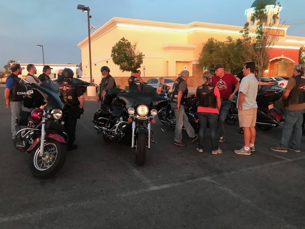 Members of Vegas Vulcan Riders chat outside after a monthly meeting in the parking lot of Town Center Lounge II, 2992 W. Cheyenne Ave. (Kailyn Brown/View) @KailynHype