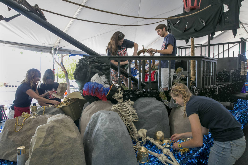 Volunteers for the Summerlin Council Patriotic  Parade put the finishing touches on floats at Trails Park in Summerlin, Friday, June 30, 2017. Gabriella Angotti-Jones Las Vegas Review-Journal @gab ...