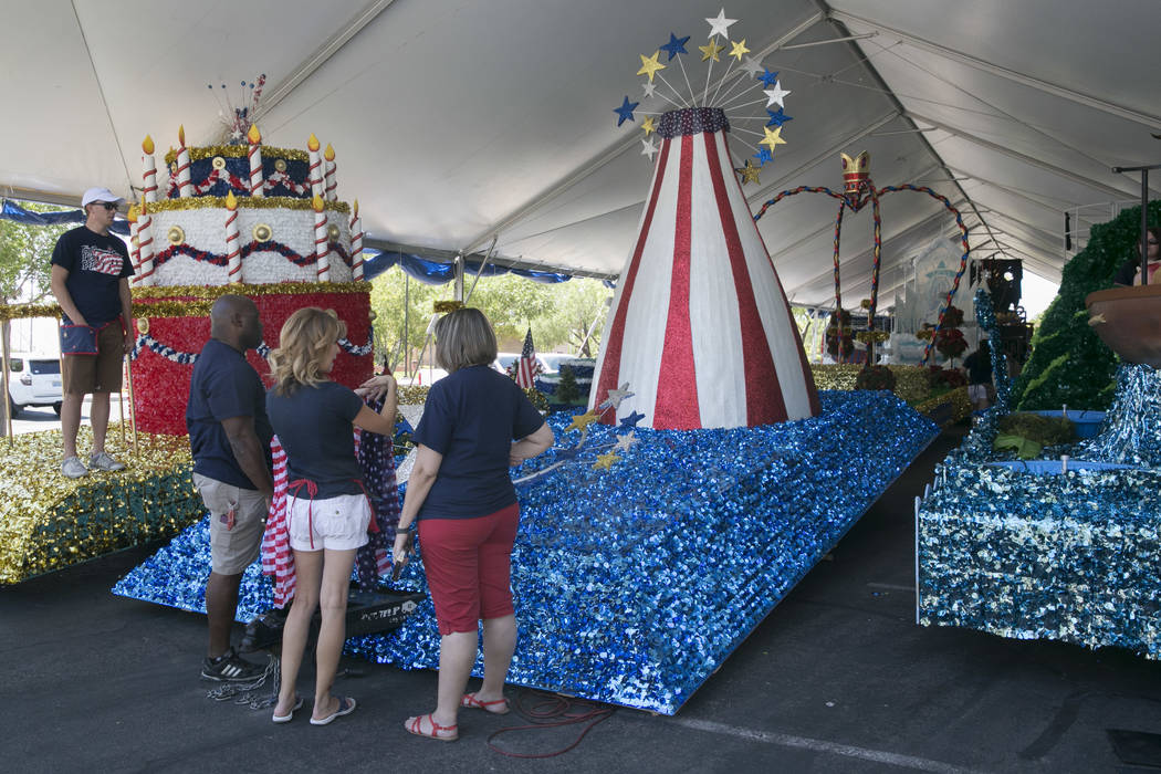 Volunteers for the Summerlin Council Patriotic  Parade put the finishing touches on floats at Trails Park in Summerlin, Friday, June 30, 2017. Gabriella Angotti-Jones Las Vegas Review-Journal  @ga ...