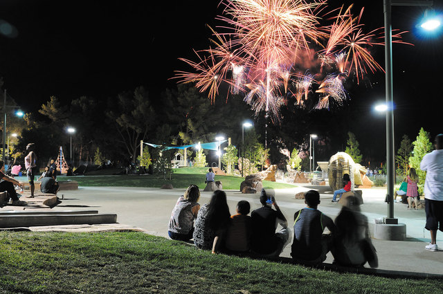 People watch the fireworks show during the Independence Day Jubilee at Craig Ranch Regional Park in North Las Vegas, July 3, 2014. (Erik Verduzco/Las Vegas Review Journal file)