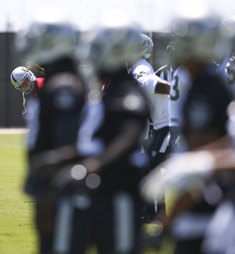 Oakland Raiders kicker Sebastian Janikowski, left, during day two of a mini-camp at the Raiders headquarters and training facility in Alameda, Calif. on Wednesday, June 14, 2017. Chase Stevens Las ...