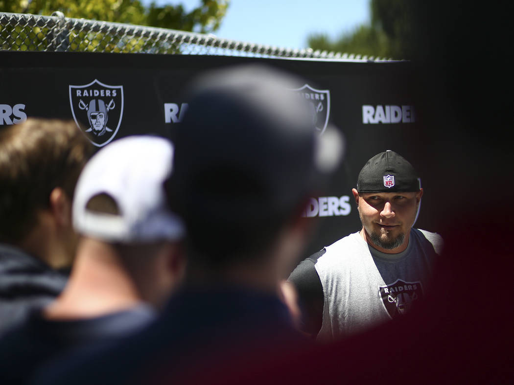 Oakland Raiders kicker Sebastian Janikowski speaks with reporters after day two of a mini-camp at the Raiders headquarters and training facility in Alameda, Calif. on Wednesday, June 14, 2017. Cha ...