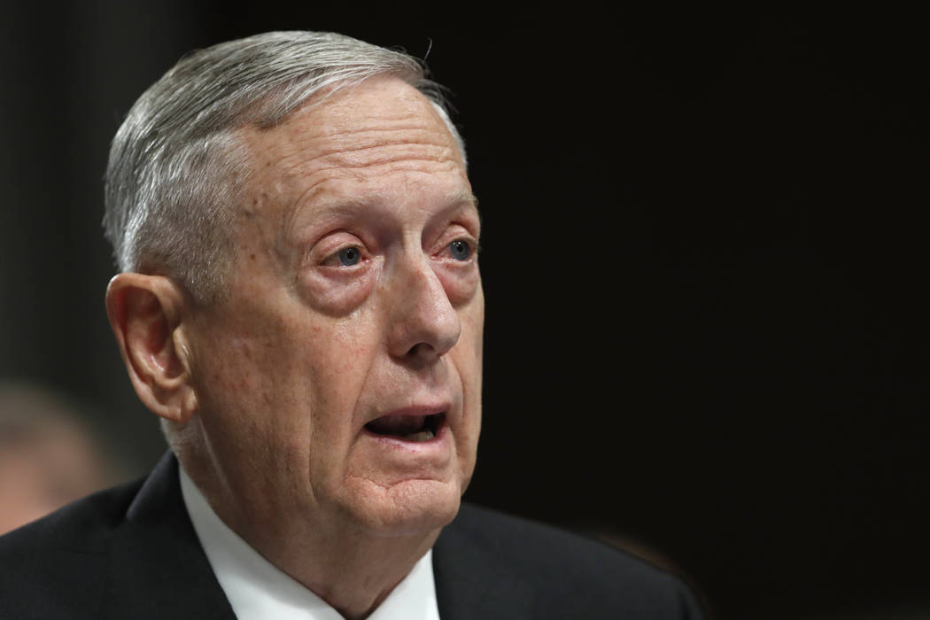 Defense Secretary Jim Mattis testifies June 13, 2017, on Capitol Hill in Washington. Mattis said Wednesday, June 14, 2017, he can now set U.S. troop levels in Afghanistan after receiving the autho ...