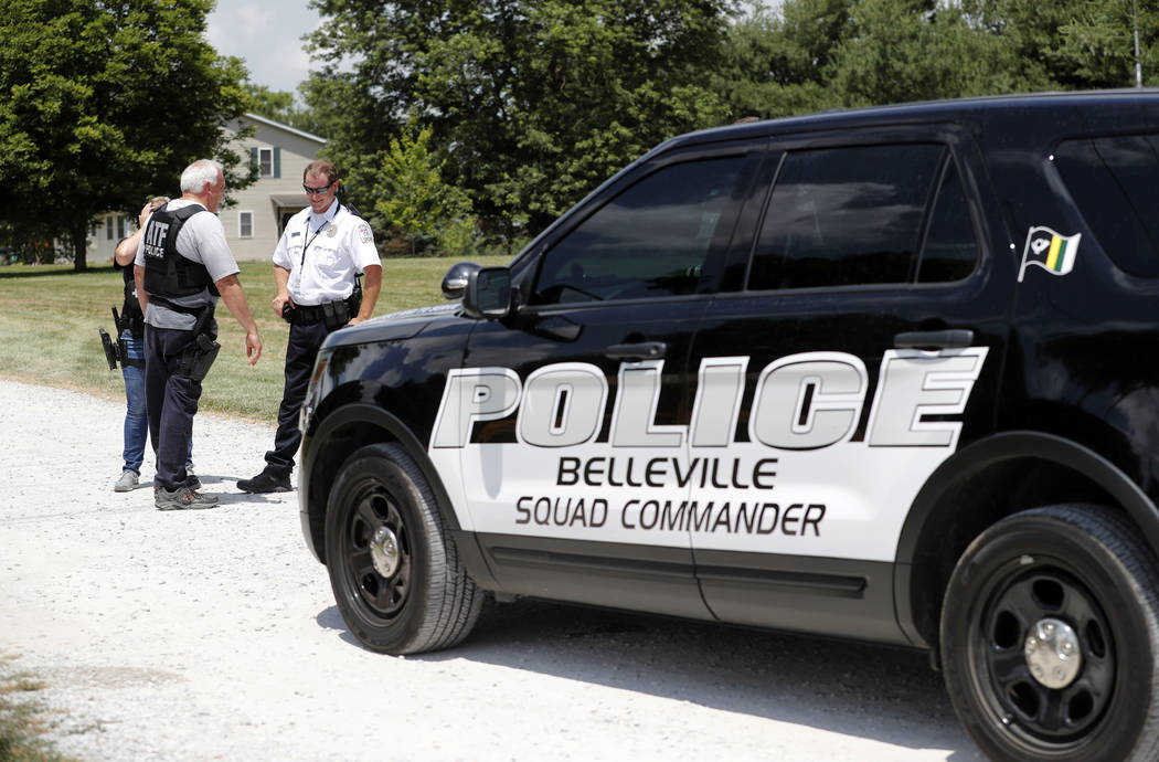 Law enforcement investigate outside the home of James T. Hodgkinson on Wednesday, June 14, 2017, in Belleville, Ill. Officials said Hodgkinson has been identified as the man who opened fire on Rep ...