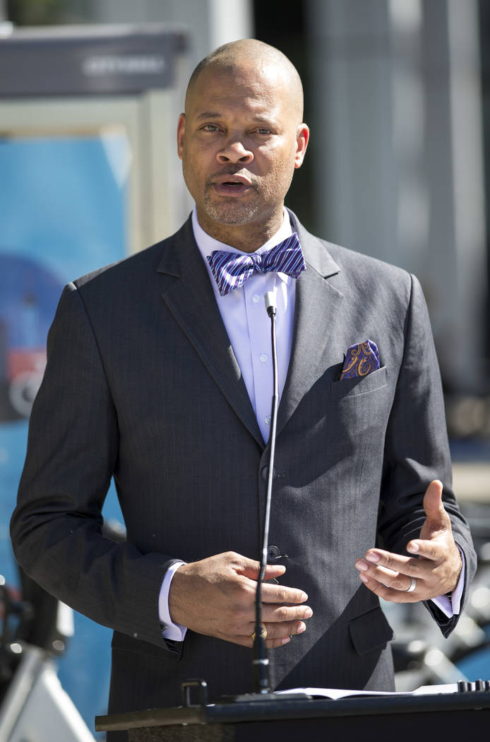 Sen. Aaron D. Ford, D-Nev., speaks to a small crowd during a Juneteenth flag raising ceremony outside Las Vegas City Hall in downtown Las Vegas on Thursday, June 15, 2017. Richard Brian Las Vegas  ...