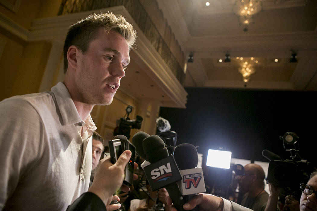Connor McDavid  speaks to the media at Encore at Wynn hotel-casino in part of an NHL event on Tuesday, June 20, 2017 in Las Vegas. Bridget Bennett Las Vegas Review-Journal @bridgetkbennett