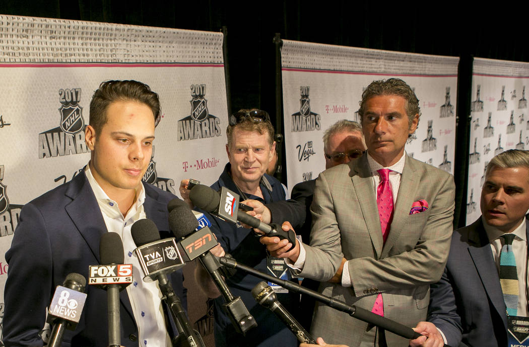 Auston Mathews speaks to the media at Encore at Wynn hotel-casino in part of an NHL event on Tuesday, June 20, 2017 in Las Vegas. Bridget Bennett Las Vegas Review-Journal @bridgetkbennett