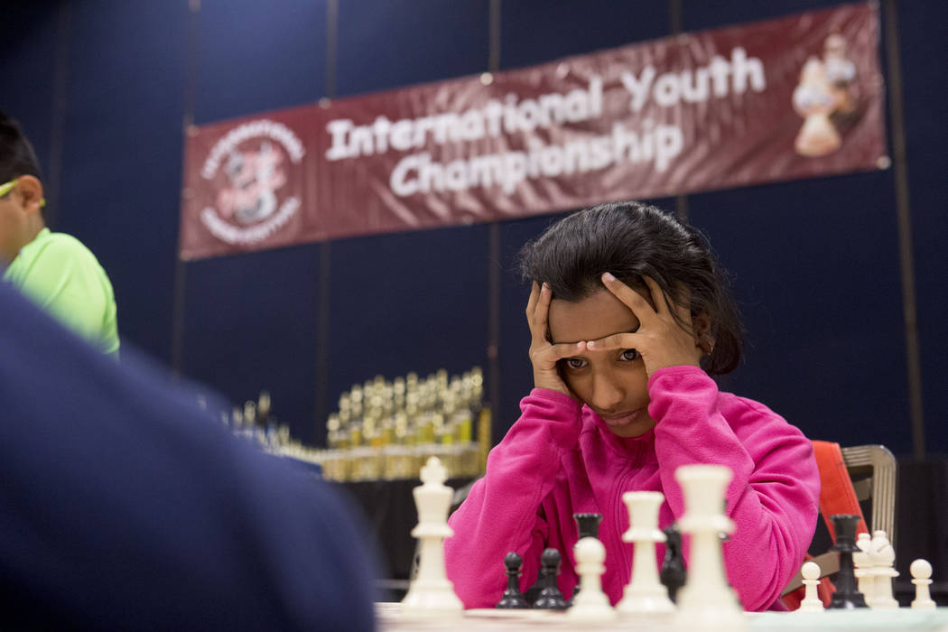 Sara Gupta, 9, competes in the 2017 International Youth Championship apart of the International Chess Festival at the Westgate hotel-casino Sunday, June 18, 2017. Elizabeth Brumley/ The Las Vegas  ...