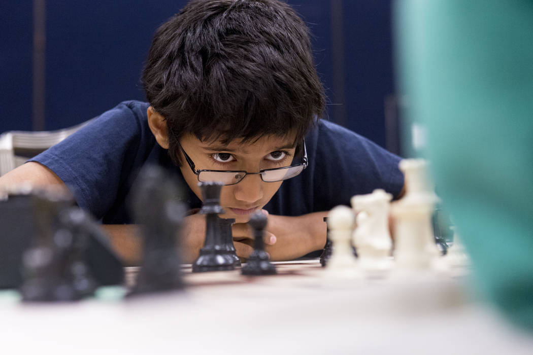 Amudan Mangudi, 9, competes in the 2017 International Youth Championship apart of the International Chess Festival at the Westgate hotel-casino Sunday, June 18, 2017. Elizabeth Brumley/ The Las Ve ...