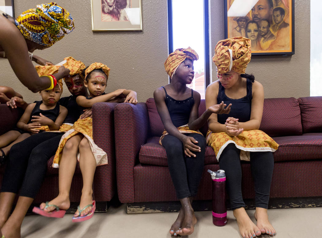 Olabisi African Dance Ensemble backstage before they perform during the National Juneteenth Observance celebration of Juneteenth at the West Las Vegas Library, Sunday, June 18, 2017. Elizabeth Bru ...
