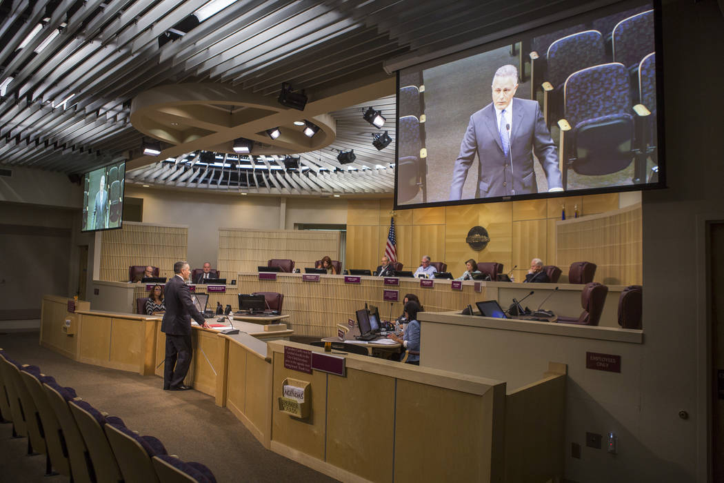 Ward II nominee Orlando Sanchez, deputy city manager for the city of Las Vegas, fields questions from city council members during a special meeting in the Henderson City Council Chambers on Thursd ...