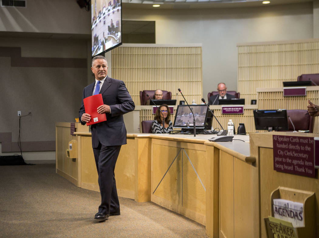 Ward II nominee Orlando Sanchez, deputy city manager for the city of Las Vegas, leaves after presenting and answering questions during a special meeting in the Henderson City Council Chambers on T ...