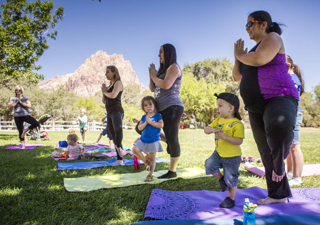 Ajelica and Vincent Wolf, right, Ana and Amaya Lazzarotto, middle, and Mary and James Grundstedt, center left, all practice a pose during a family yoga class at Spring Mountain Ranch State Park on ...