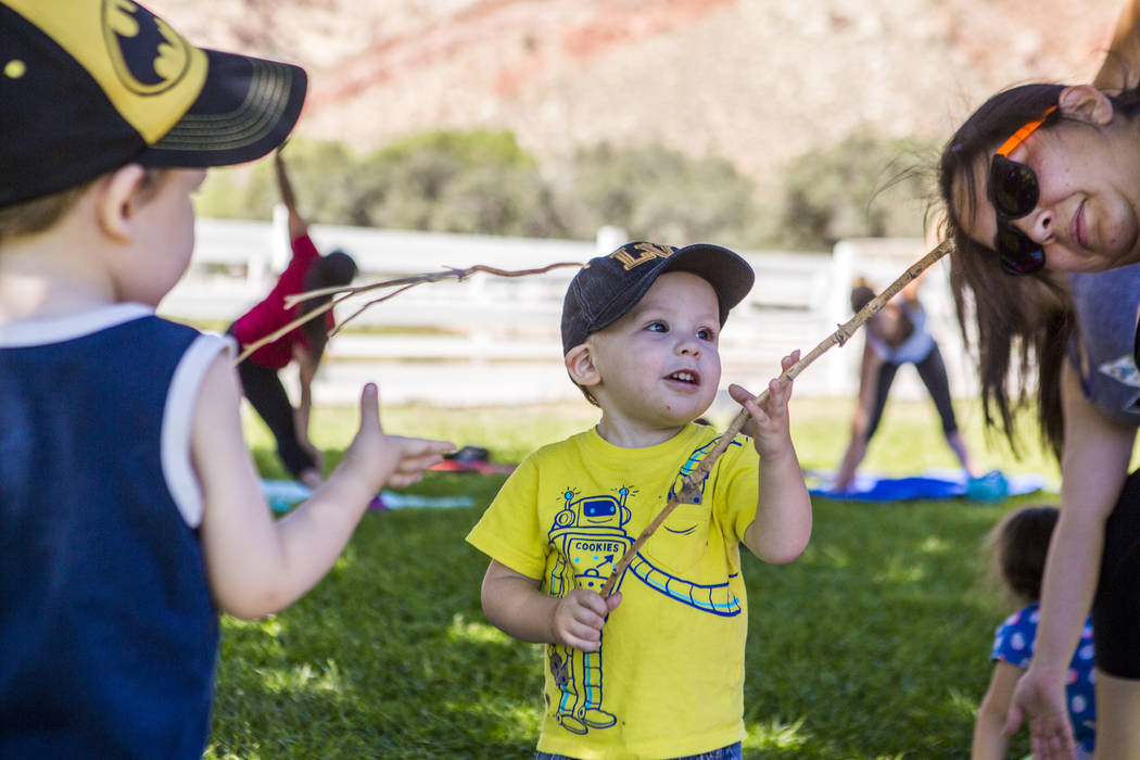 Vincent Wolf, 2, shows off his stick to his brother Dominic, 3, and mother Anjelica during a family yoga class at Spring Mountain Ranch State Park on Wednesday, June 14, 2017.  Patrick Connolly La ...