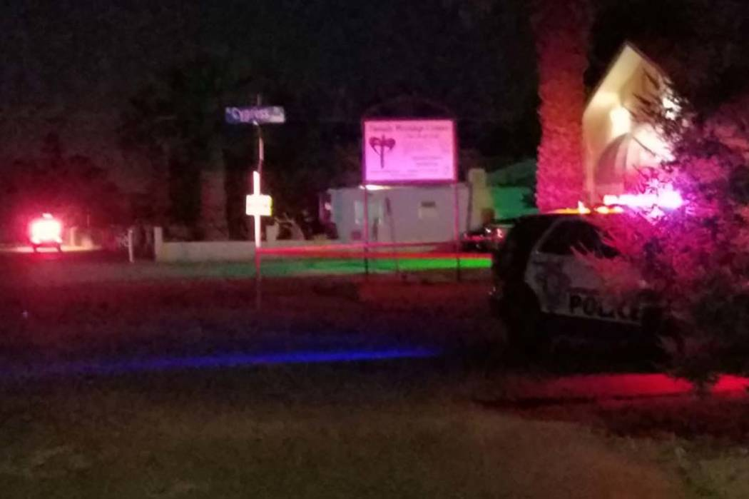 Homicide detectives respond to the area of Coran Lane and Cypress Trail, near Rancho Drive, after a person was found about 11:30 p.m. Monday, June 5, 2017. (Mike Shoro/Las Vegas Review-Journal)