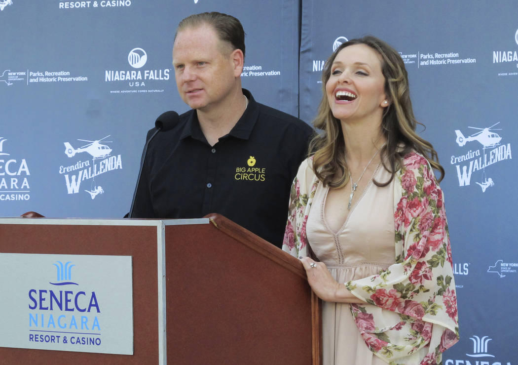 Trapeze-artist Erendira Wallenda smiles as she and her daredevil husband Nik Wallenda describe Erendira's plans to perform an acrobatic routine while suspended from a helicopter above Niagara Fall ...