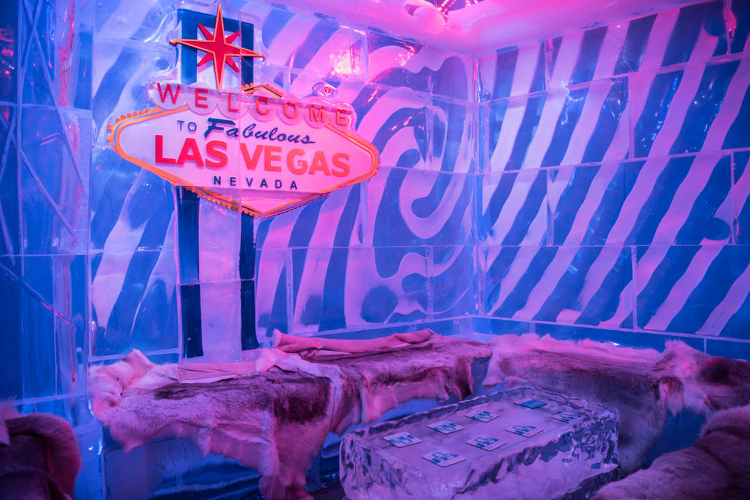 Master Ice Carver Peter Slavin designed most of the art on the walls of the Minus 5 ice bar at Mandalay Bay Resort and Casino. Morgan Lieberman Las Vegas Review-Journal