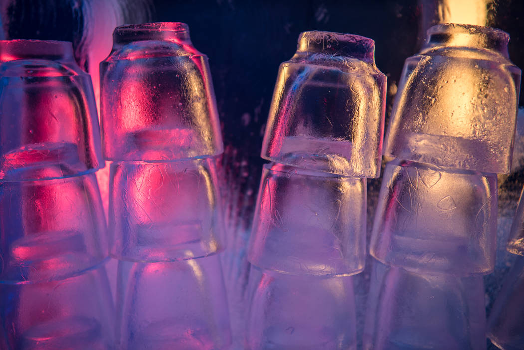 Drinks are served in cups made out of ice at Minus 5 Ice Experience at Mandalay Bay Resort and Casino on Thursday, June 15, 2017, in Las Vegas. A new Minus 5 ice bar will open up at The Venetian R ...