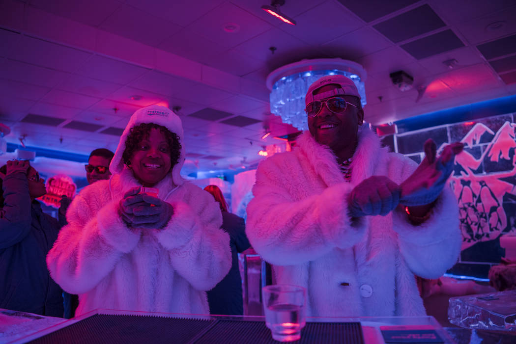 Tenisha McGraw and Mike McGraw warm up with some drinks at the Minus 5 Ice Experience bar at Mandalay Bay Resort and Casino on Thursday, June 15, 2017, in Las Vegas. Morgan Lieberman Las Vegas Rev ...