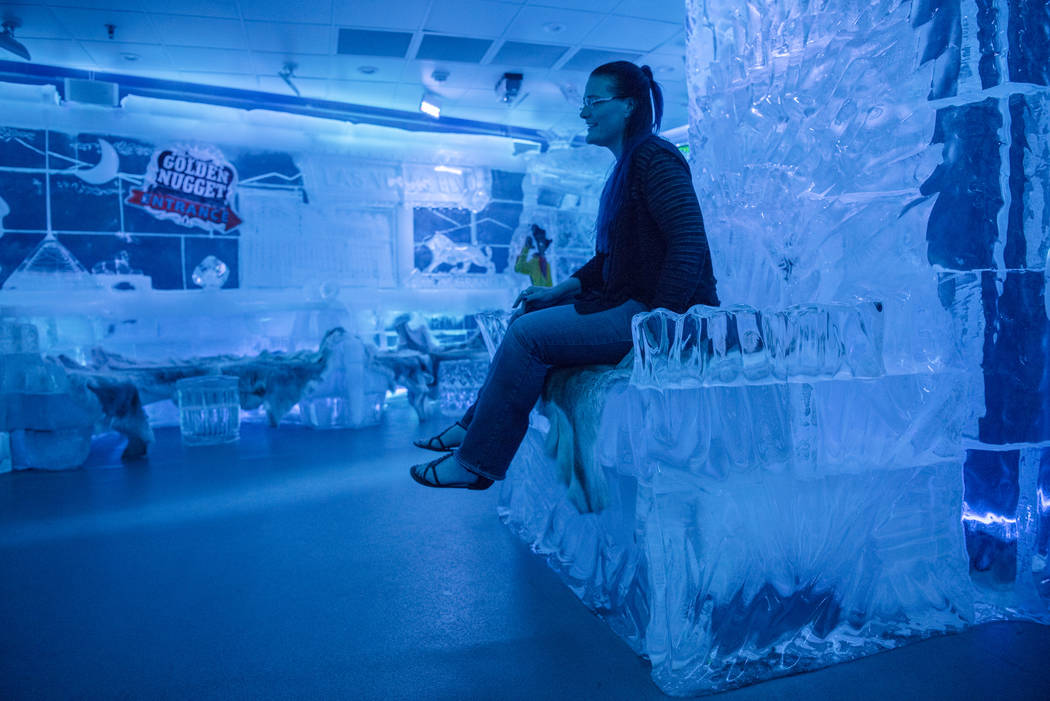 Gigi Wells sits on the ice throne at the Minus 5 ice bar at Mandalay Bay Resort and Casino on Thursday, June 15, 2017, in Las Vegas. Morgan Lieberman Las Vegas Review-Journal