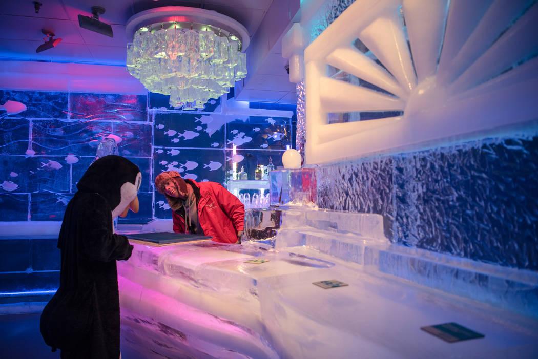 Derrick Howard and the entertaining penguin at the Minus 5 ice bar at Mandalay Bay Resort and Casino on Thursday, June 15, 2017, in Las Vegas. Morgan Lieberman/Las Vegas Review-Journal
