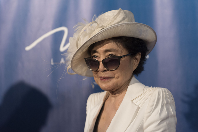 Yoko Ono Lennon poses during a red carpet event to celebrate the 10th anniversary of Cirque du Soleil's The Beatles LOVE at The Mirage hotel-casino in Las Vegas Thursday, July 14, 2016. (Jason Ogu ...