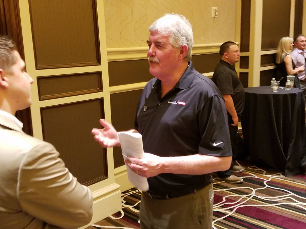 Project Principal John Wood of Mortenson Construction, Minneapolis speaks to a reporter at the stadium contractor meeting in Las Vegas, Thursday, June 15, 2017. Richard N. Velotta Las Vegas Review ...