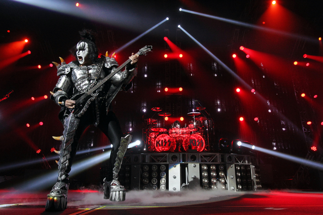 Gene Simmons, left, and Eric Singer of Kiss, perform at The Joint at the Hard Rock hotel-casino in Las Vegas to kick off their residency at the venue Wednesday, Nov. 5, 2014. (K.M. Cannon/Las Vega ...