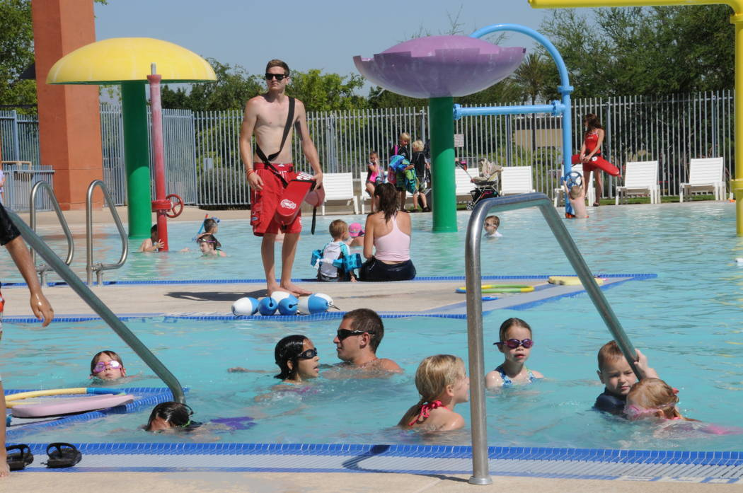 Swimmers take part in the 2015 World Waterpark Association's World's Largest Swimming Lesson at Whitney Ranch Aquatic Complex in Henderson. (City of Henderson)