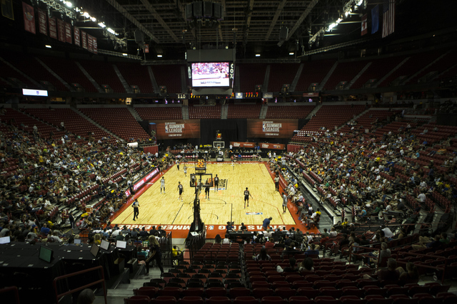 Fans watch the Utah Jazz plays against the Portland Trail Blazers during the NBA Summer League at the Thomas and Mack Center on Tuesday, July 12, 2016, in Las Vegas. The Trail Blazers won 92-89 in ...