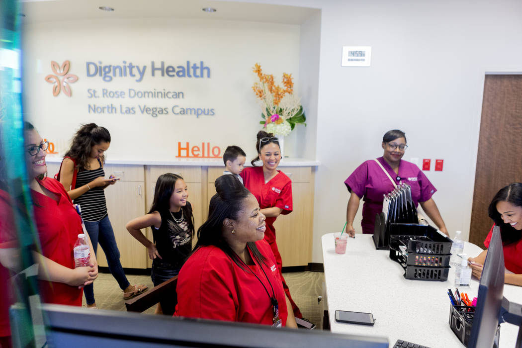 Front desk staff talk during a tour given of the new Dignity Health-St. Rose Dominican North Las Vegas campus, Thursday, June 15, 2017. Elizabeth Brumley/ The Las Vegas Review-Journal