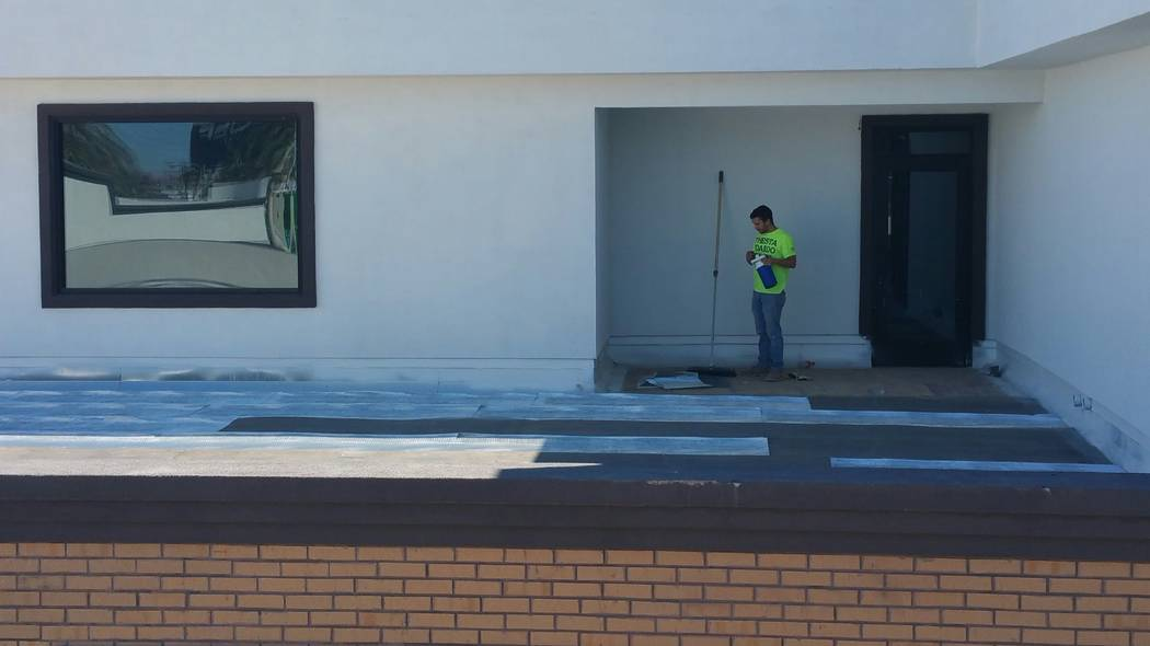The rooftop common area planned for the office space at 1025 S. Main St., as seen from the planned rooftop deck at the commercial development's future brewery. (Wade Tyler Millward/Las Vegas Revie ...
