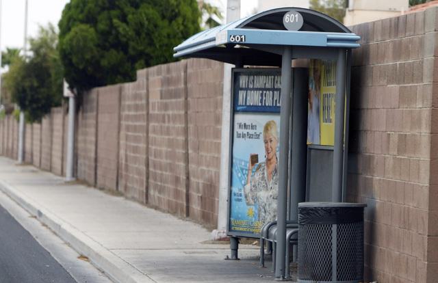 A bus stop near Cheyenne Avenue and Torrey Pines Drive is seen Thursday, July 9, 2015. (Bizuayehu Tesfaye/Las Vegas Review-Journal) Follow Bizu Tesfaye on Twitter @bizutesfaye