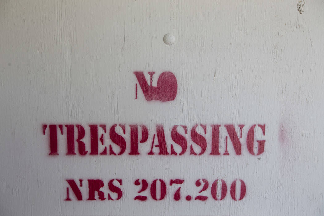 A No Trespassing sign is seen at a house near Vegas and Rancho drives in Las Vegas on Monday, June 19, 2017. Richard Brian Las Vegas Review-Journal @vegasphotograph