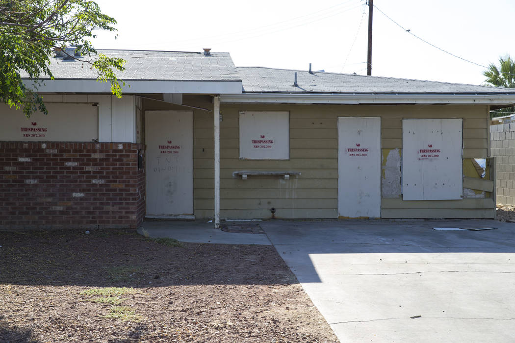 A boarded-up house is seen near Vegas and Rancho drives in Las Vegas on Monday, June 19, 2017. Richard Brian Las Vegas Review-Journal @vegasphotograph