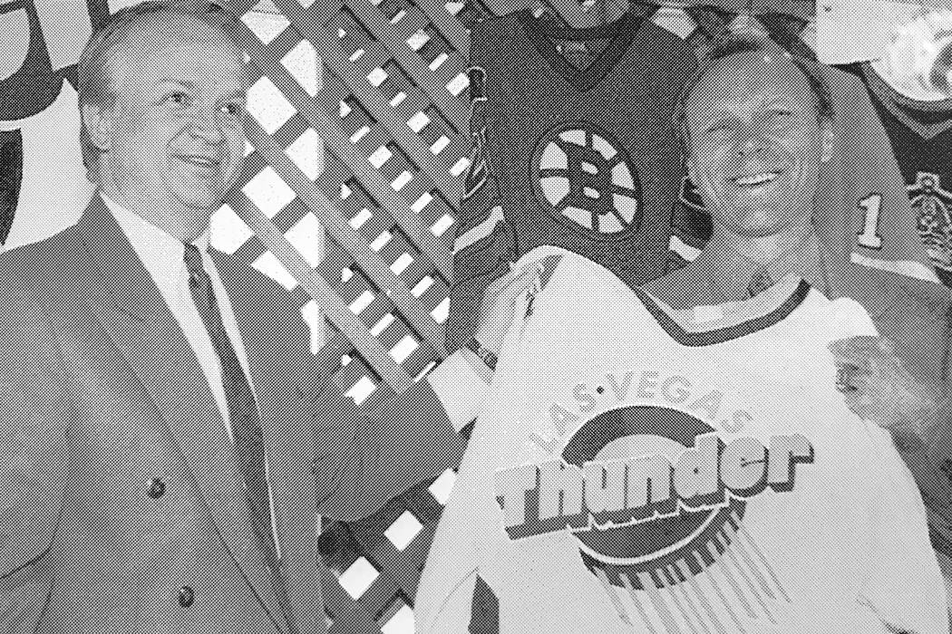 Butch Goring holds a Las Vegas Thunder jersey after being introduced at a press conference at Thomas and Mack Center on June, 3, 1993. (Jeff Scheid/Las Vegas Review-Journal)