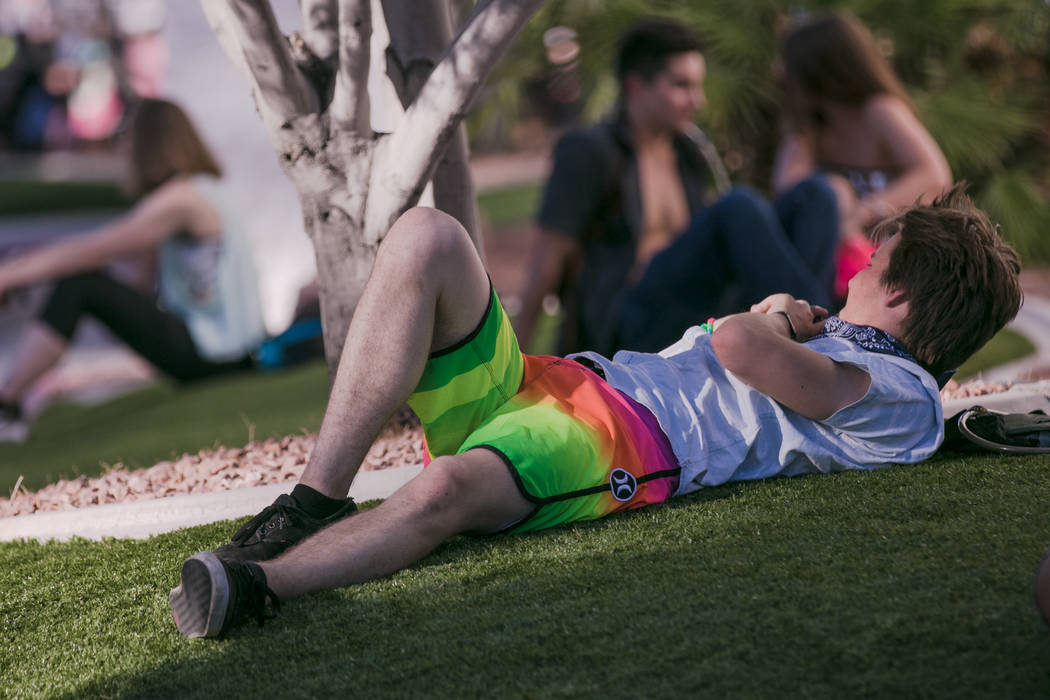 Will Doody waits in the shade before gates open to the first day of Electric Daisy Festival at Las Vegas Motor Speedway in Las Vegas, on June 16, 2017, in Las Vegas. Morgan Lieberman Las Vegas Rev ...