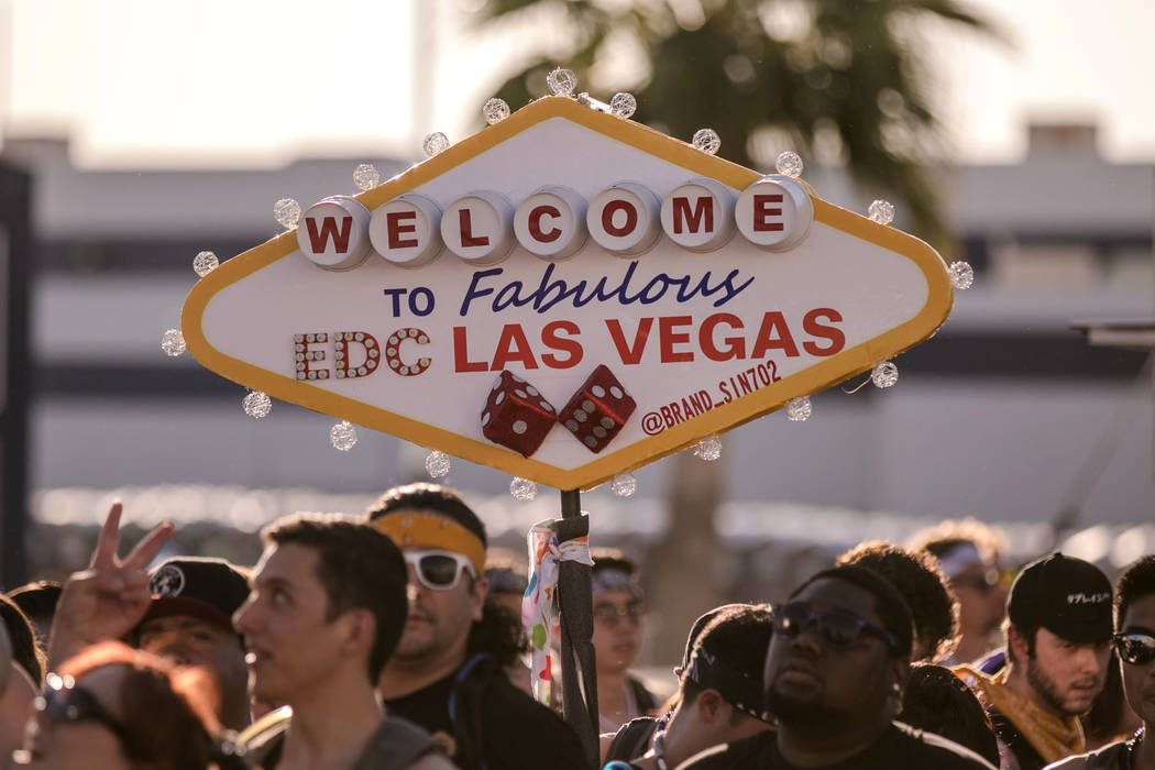 A legendary local sign is recreated for the Electric Daisy Festival at Las Vegas Motor Speedway on Friday, June 16, 2017, in Las Vegas. Morgan Lieberman Las Vegas Review-Journal