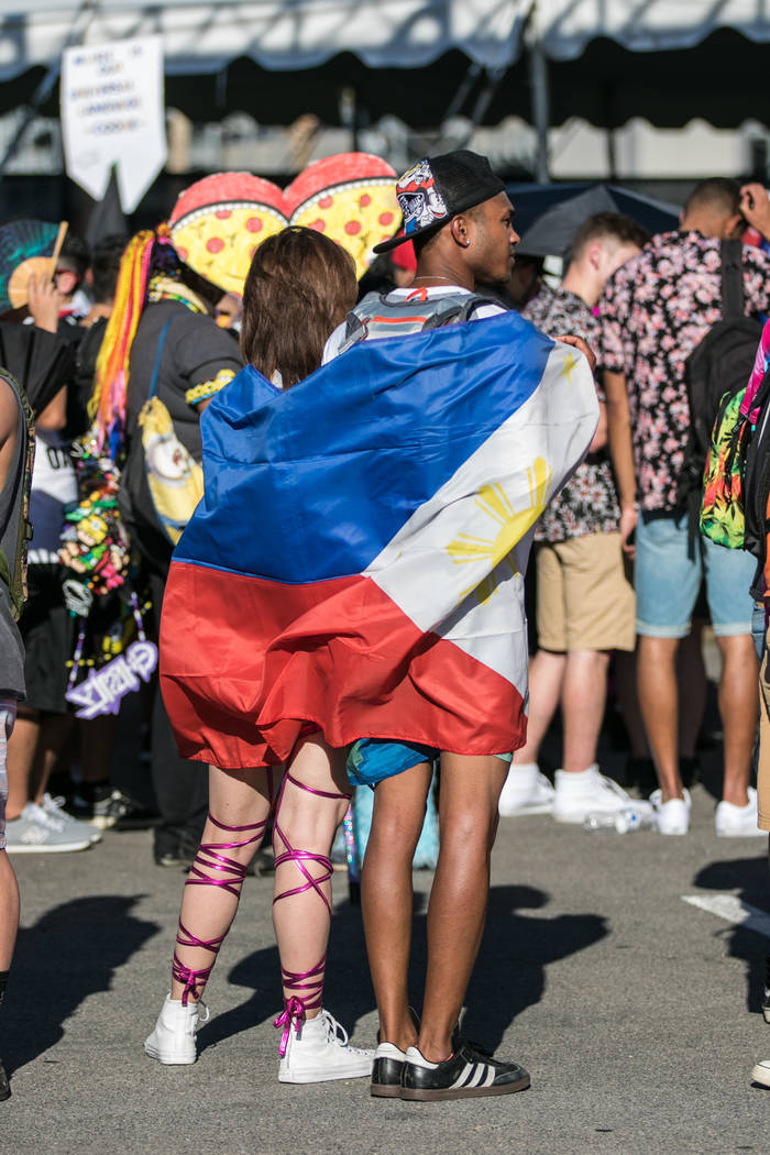 Cultural flags are a popular accessory at Electric Daisy Festival opening day on Friday, June 16, 2017, at Las Vegas Motor Speedway in Las Vegas. Morgan Lieberman Las Vegas Review-Journal