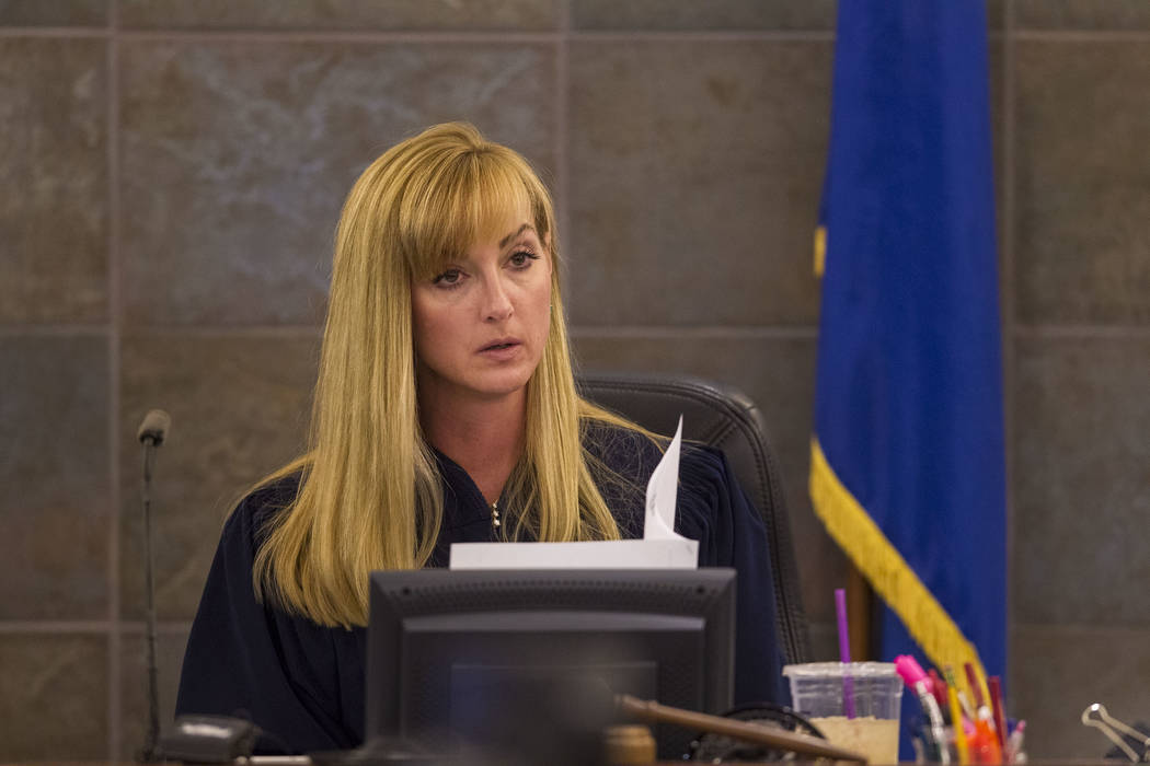 Judge Stefany Miley speaks to the jury before opening statements in the murder trial of Thomas Randolph at the Regional Justice Center in downtown Las Vegas on Friday, June 16, 2017. Richard Brian ...