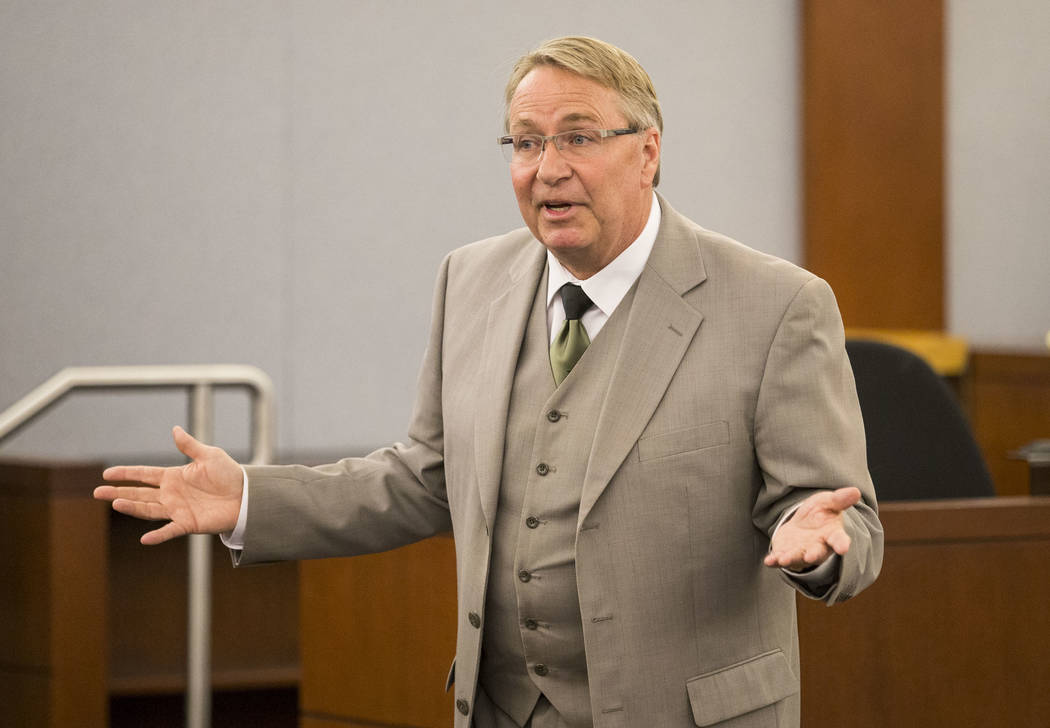 Defense attorney Randall Pike gives opening statements to the jury in the murder trial of Thomas Randolph at the Regional Justice Center in downtown Las Vegas on Friday, June 16, 2017. Richard Bri ...