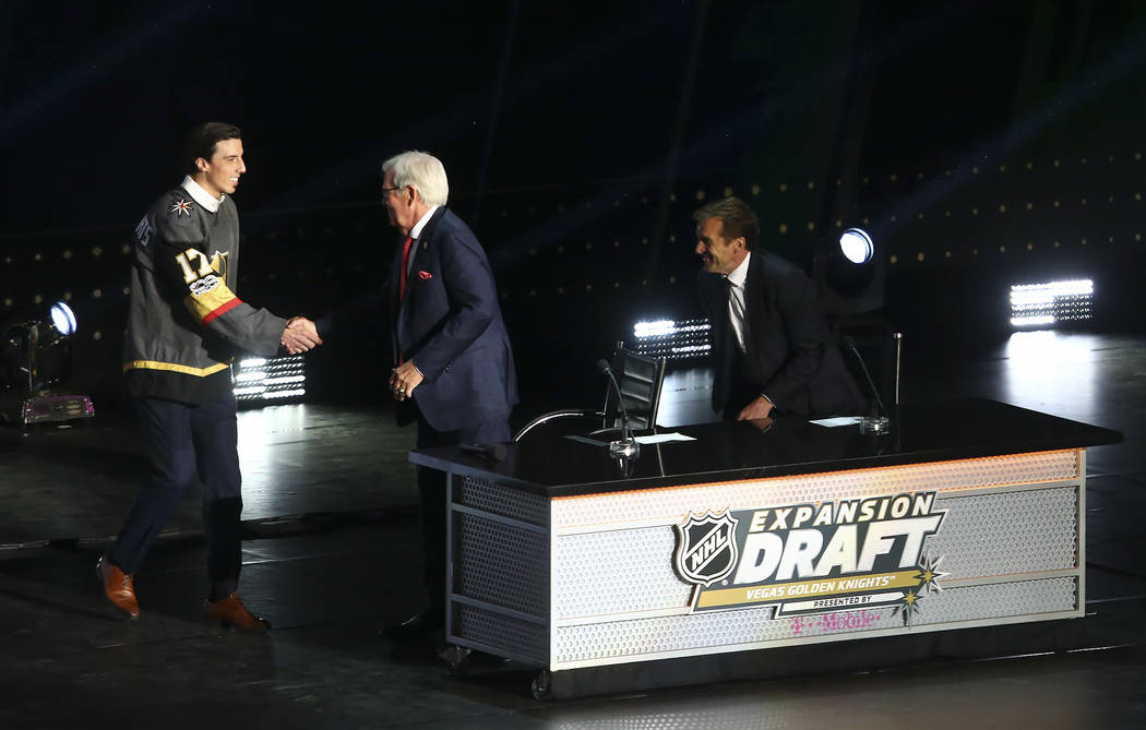 Marc-Andre Fleury is congratulated by Vegas Golden Knights owner Bill Foley after being drafted by the Knights during the NHL Expansion Draft at T-Mobile Arena on Wednesday, June 21, 2017 in Las V ...