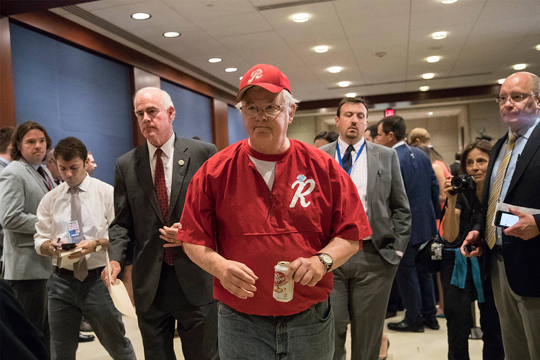 Rep. Joe Barton, R-Texas, with Rep. Pat Meehan, R-Pa., left, arrives on Capitol Hill in Washington, Wednesday, June 14, 2017, for a security briefing after a gunman opened fire at a congressional  ...