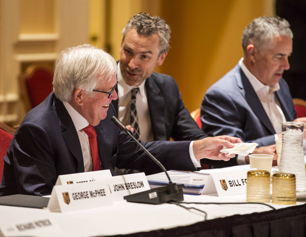 Golden Knights owner Bill Foley, left, talks with Trevor Linden, president of the Vancouver Canucks, before the NHL Board of Governors meeting at the Encore hotel-casino on Wednesday, June 21, 201 ...