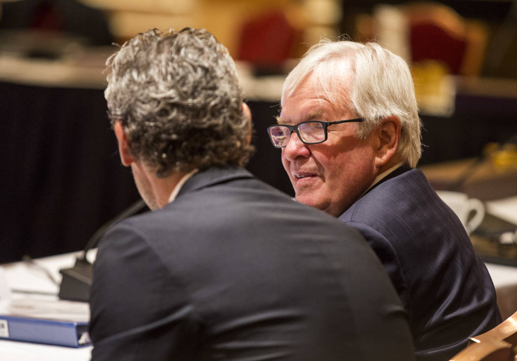 Golden Knights owner Bill Foley, right, talks with Trevor Linden, president of the Vancouver Canucks, before the NHL Board of Governors meeting at the Encore hotel-casino on Wednesday, June 21, 20 ...