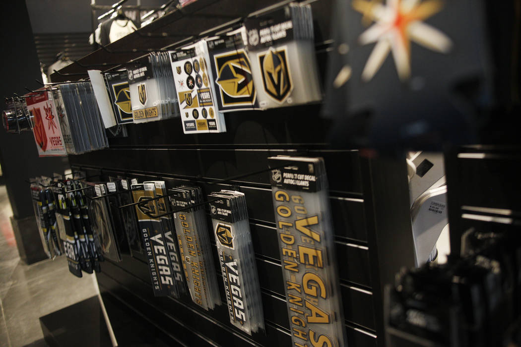 Stickers and accessories for sale at the Vegas Golden Knights team store, called the Armory, at the T-Mobile Arena on Monday, June 19, 2017, in Las Vegas. The Armory opens Tuesday at 10 a.m. Rache ...